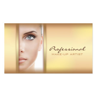 Simple Gold Woman Face Make-up Artist Card Business Card