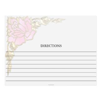 Simple Golden Pink Rose Corner Recipe Cards