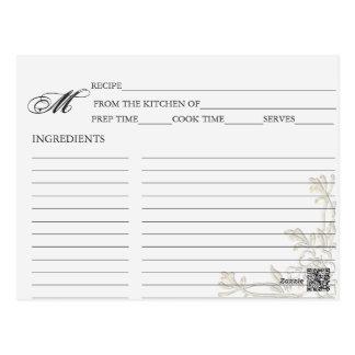 Simple Golden Rose Corner Recipe Cards