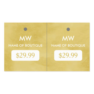 Simple Goldenrod Chic Boutique Monogram Hang Tags Double-Sided Standard Business Cards (Pack Of 100)