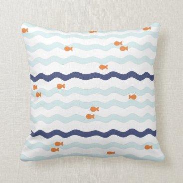 Beach Themed Simple goldfish pattern pillow blue waves