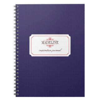 Simple grace navy blue custom inspiration journal spiral note books