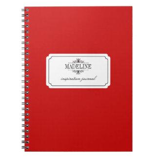 Simple grace red black custom inspiration journal notebook