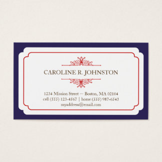 Simple grace solid navy frame personal calling business card
