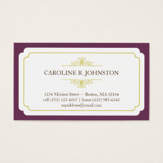 Simple grace solid plum frame personal calling business card