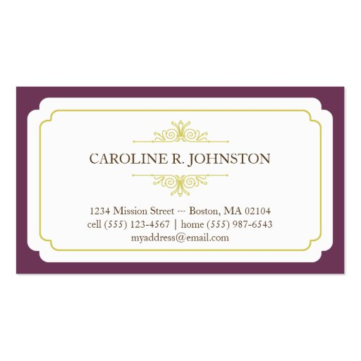 Simple grace solid plum frame personal calling business card template