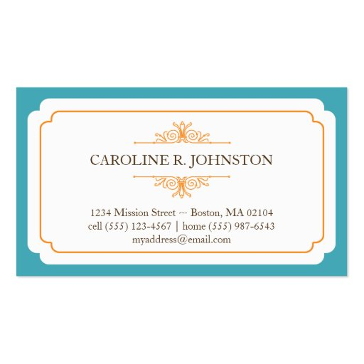 Simple grace solid teal frame personal calling business card