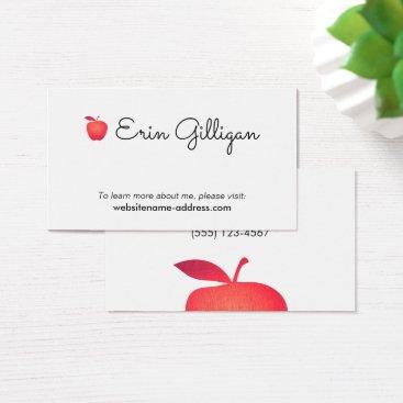 Beach Themed Simple Grade School Teacher Red Apple Business Card