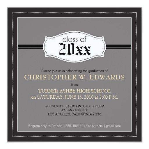 """Simple Graduation Announcement Invitation (black) 5.25"""" Square Invitation Card"""