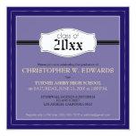 """Simple Graduation Announcement Invitation (blue) 5.25"""" Square Invitation Card"""