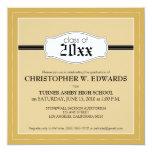 """Simple Graduation Announcement Invitation (gold) 5.25"""" Square Invitation Card"""