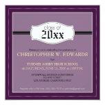"""Simple Graduation Announcement Invitation (purple) 5.25"""" Square Invitation Card"""