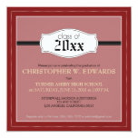 """Simple Graduation Announcement Invitation (red) 5.25"""" Square Invitation Card"""