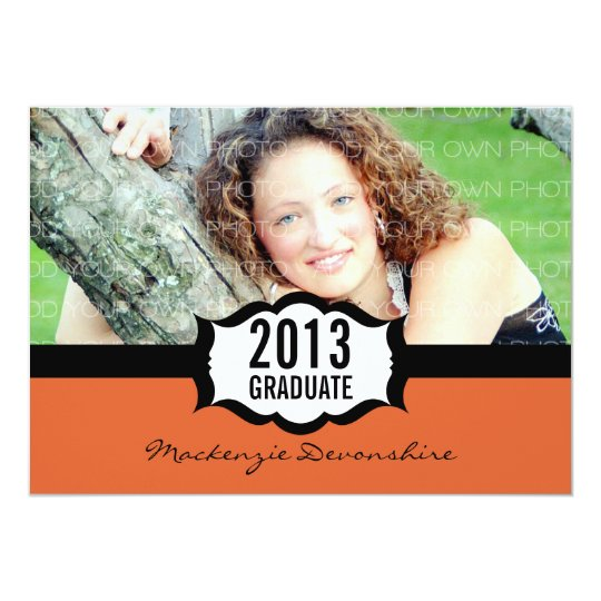 Simple Graduation Invitation, Orange Card