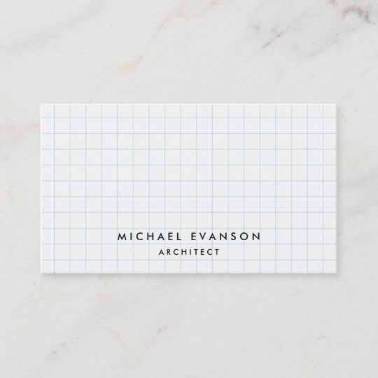simple graph paper pattern professional architect business card