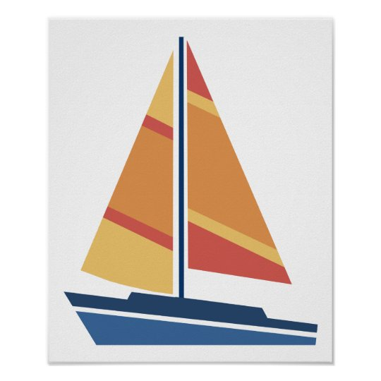 Simple Graphic Sailboat Poster
