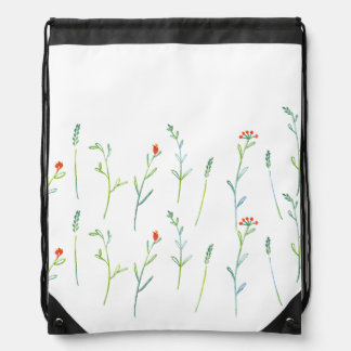 < Simple grass flower patterns (water color) > Drawstring Backpack
