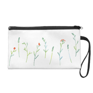 < Simple grass flower patterns (water color) > Wristlet Purse
