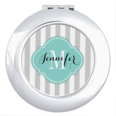 Simple Gray And White Stripes With Monogram Makeup Mirror at Zazzle