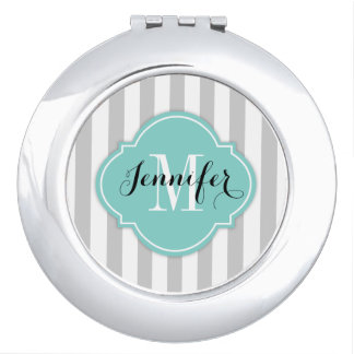 Simple Gray and White Stripes with Monogram Makeup Mirror
