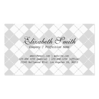 Simple Gray Argyle Pattern Business Card