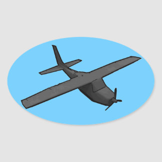 Simple gray blue propeller plane sticker