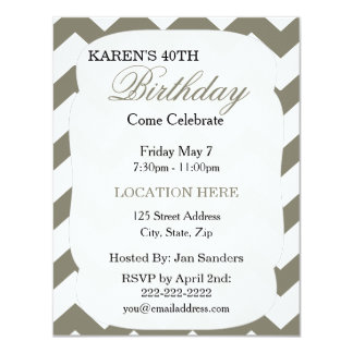"simple Gray Chevron Birthday Invitation 4.25"" X 5.5"" Invitation Card"