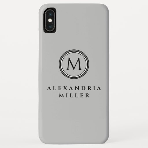 Simple Gray Monogram Medallion | Personalized Name iPhone XS Max Case