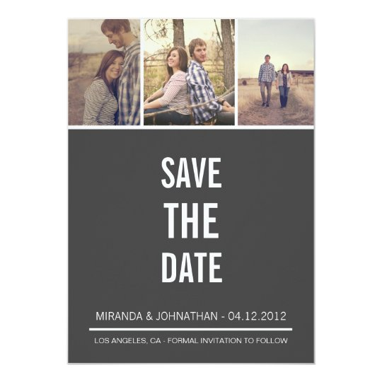 Simple Gray Photo Save The Date Announcements