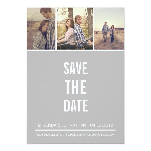"""Simple Gray Photo Save The Date Announcements 5"""" X 7"""" Invitation Card"""