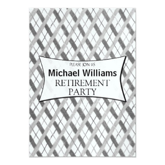 Simple Gray Plaid retirement party Card