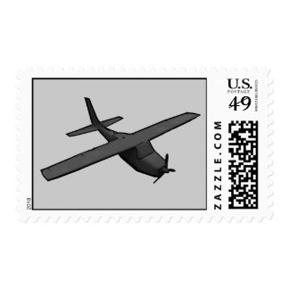 Simple gray propeller plane postage stamps