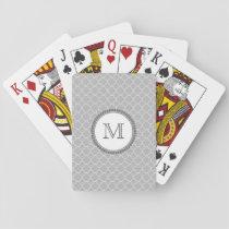 Simple Gray Quatrefoil Pattern Monogram Playing Cards