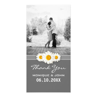 Simple Gray Spring Wedding Daisies Sweet Thank You Card