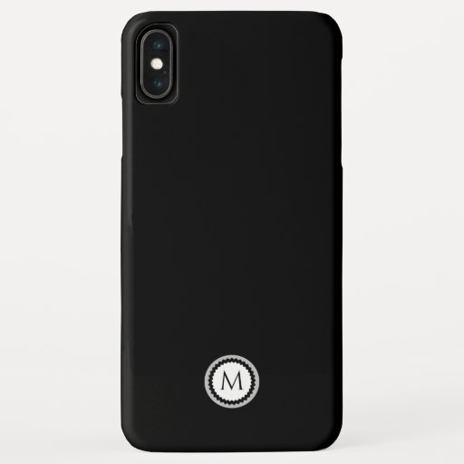 Simple Gray & White Monogram Medallion | Black iPhone XS Max Case