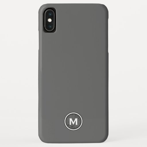 Simple Gray & White Monogram Medallion iPhone XS Max Case