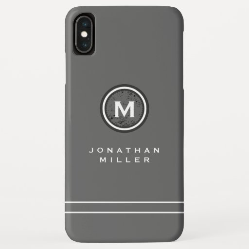 Simple Gray & White Monogram Medallion | Name iPhone XS Max Case
