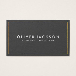Simple Gray with Gold Border Business Card