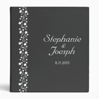 Simple Gray With White Floral Detail | Wedding 3 Ring Binder