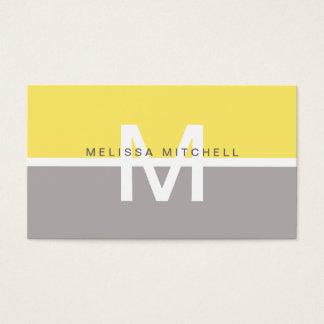 Simple Gray & Yellow Monogram Business Card