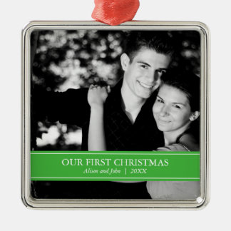 Simple Green and White Custom Photo Christmas Ornaments