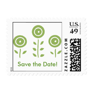 Simple Green Circle Flowers Save the Date Postage