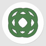 Simple Green Circle Knot Classic Round Sticker