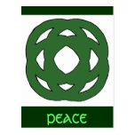 Simple Green Circle Knot Post Card