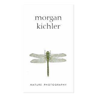 Simple Green Dragonfly Nature Professional White Double-Sided Standard Business Cards (Pack Of 100)