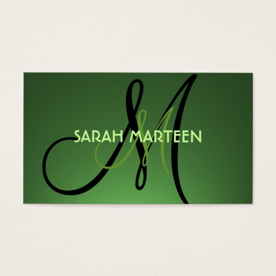 Simple green fade theme monogram custom cards