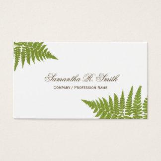 Simple Green Fern Elegant Woodland Design Business Card