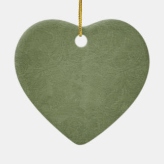 Simple Green Floral Heart Ceramic Ornament