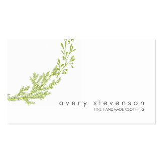 Simple Green Hand Drawn Wreath Nature White 1 Business Card Templates