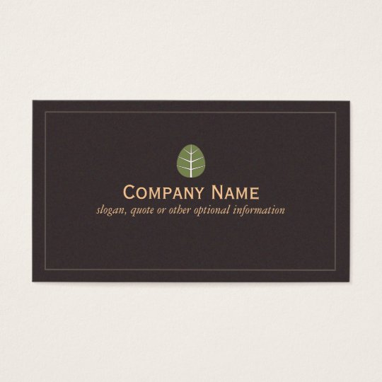 Simple Green Leaf Logo Nature Business Card